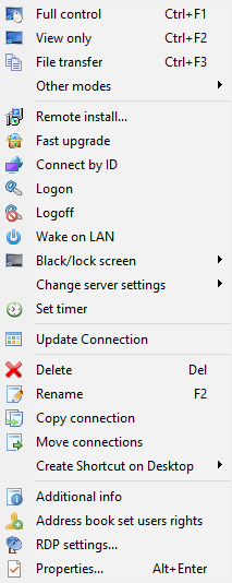 The contact's context menu.