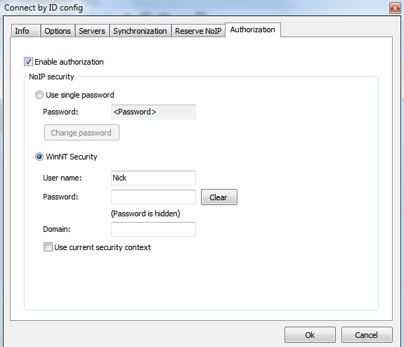specify password or user authentication data