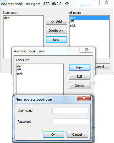 specify name and password and then add it as an object user
