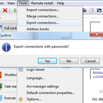 Export the contacts