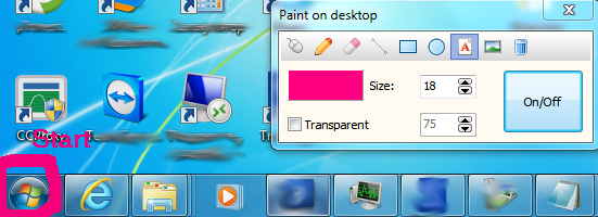 draw and write text on your desktop