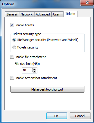 check the checkbox «Enable tickets