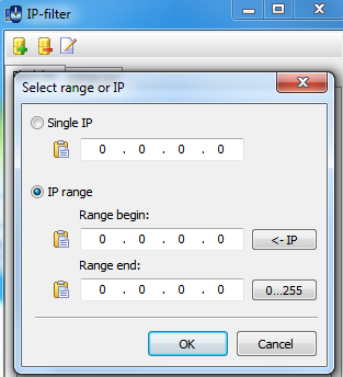 Enter the addresses and IP ranges